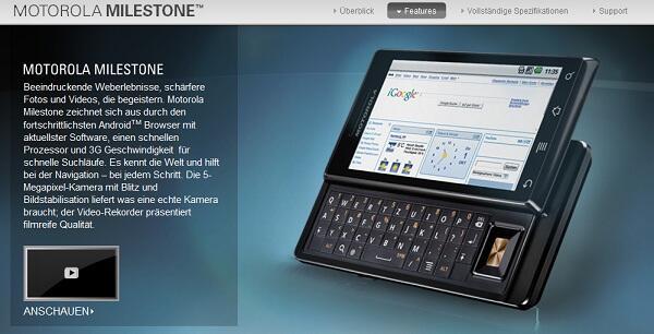Android milestone Motorola o2