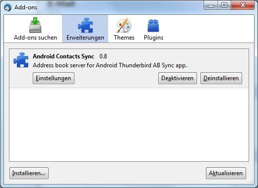 Android Kontakte thunderbird