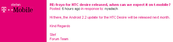 Android Desire Froyo HTC ota T-Mobile uk