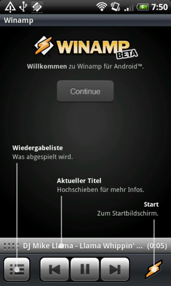 Android app Musik player winamp