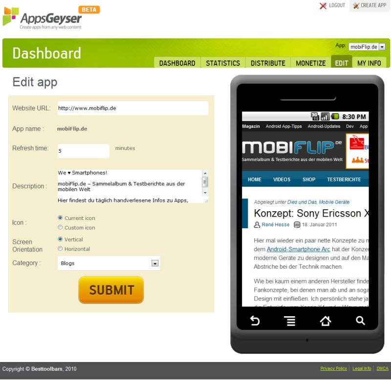 Android app generator Tools