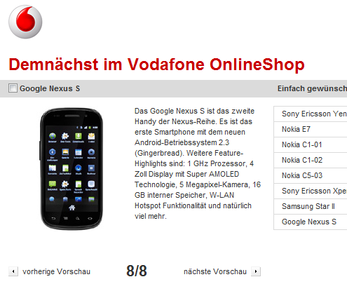 Android Google nexus s shop Vodafone