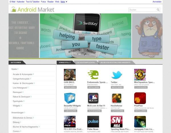 Android deutsch Google market webstore