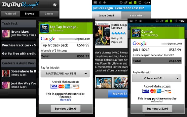 Android Apps bezahlung Google in-app market