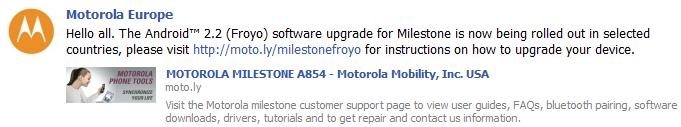 Android Froyo milestone ota