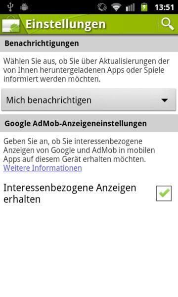 Android Google market Sicherheit werbung