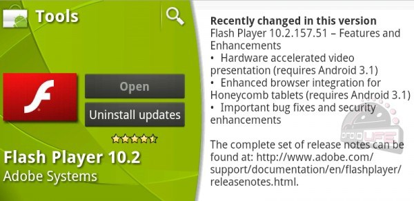 3.1 Android Flash Honeycomb Leak Update
