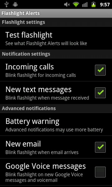 Android app Kamera led notification System Tool
