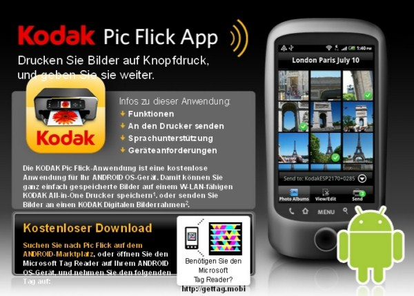 Android app bilder drucken Fotos Kodak