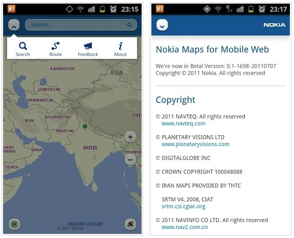 Android Browser HTML5 iOS nokia maps ovi web Windows Phone