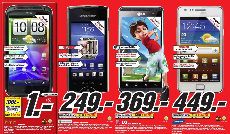 angebot LG media markt Optimus 3D Samsung Sony Ericsson xperia ray