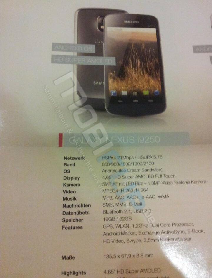 Android Galaxy Nexus gt-i9220 GT-I9250 nexus