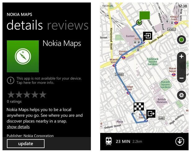 karten Maps marketplace navigation Nokia Windows Phone