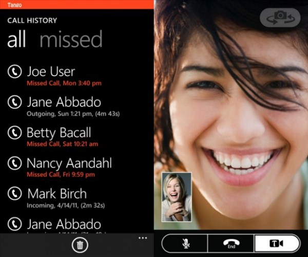 app System tango Telefonie tipp videotelefonie Windows Phone