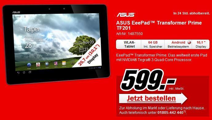 Asus deutschland Eee Pad media markt transformer prime verfügbar