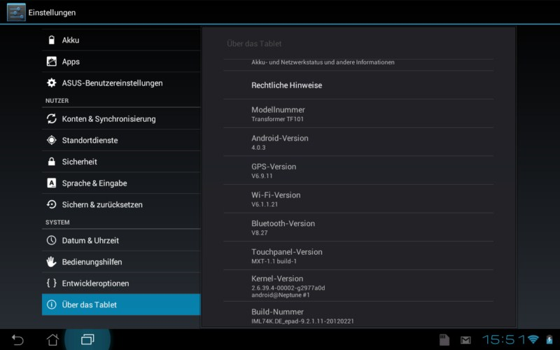 Android Asus ICS prime tablet TF101 transformer Update