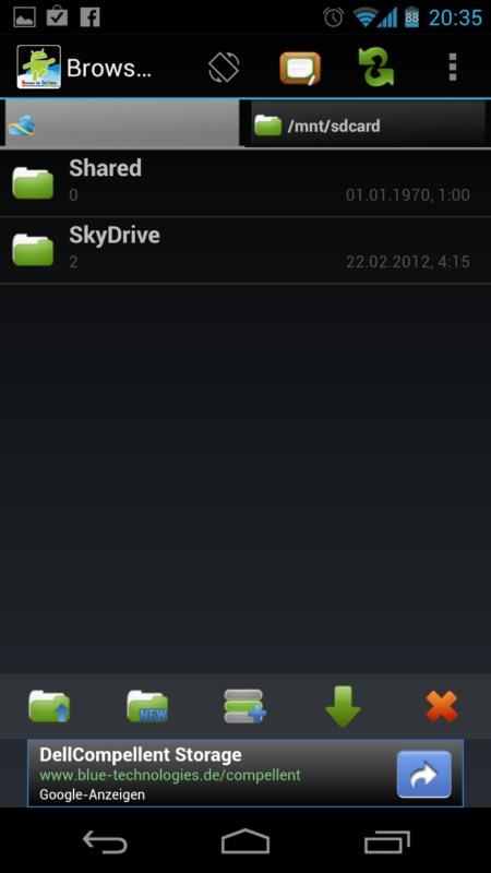 Android app cloud ICS microsoft skydrive