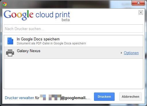 Android cloud drucken Google print tipp
