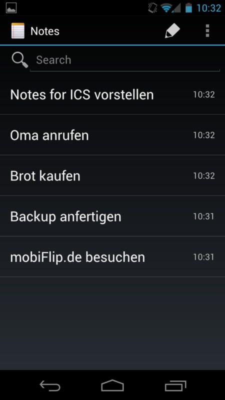 Android app holo ICS notes roboto System tipp Tool