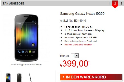 Android deal facebook Galaxy Nexus Google Samsung Schnäppchen