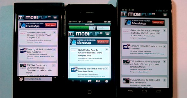 Browser Galaxy Nexus iphone 4s Lumia 800 Nokia review test Video Windows Phone