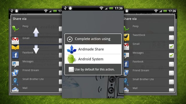 Android app share System teilen Tool