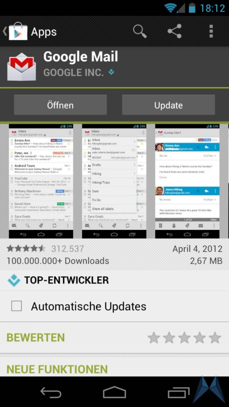 Android E-Mail Gmail Google google mail play store Update