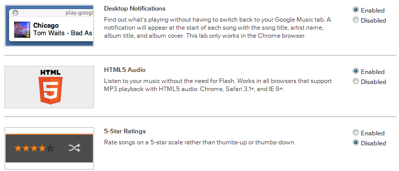 Android beta Google labs music