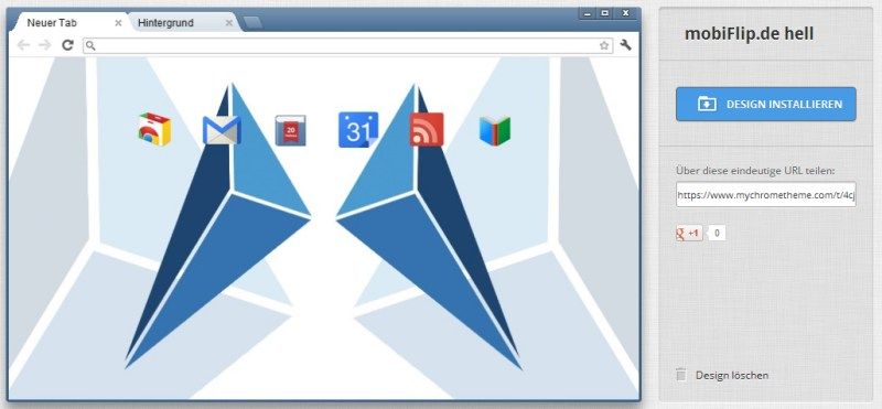 Browser chrome design Google layout skins social teilen themes