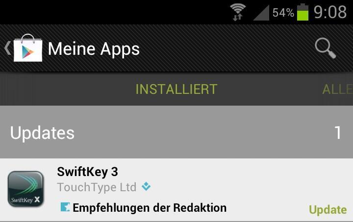 Android app Eingabe keyboard swiftkey System tablet Tastatur Tool Update