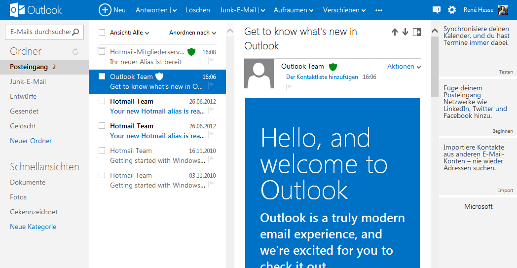 Hotmail microsoft outlook