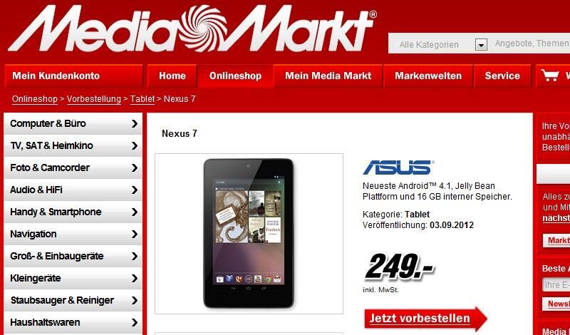 Android Asus Google media markt nexus 7 tablet