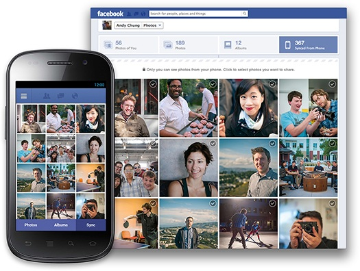 Android app facebook Fotos social Sync upload