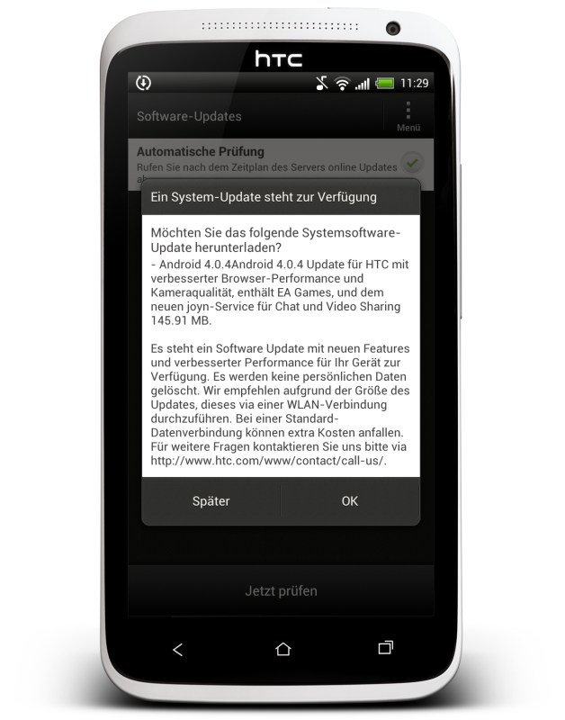4.0.4 4.1 HTC one x ota Update Vodafone