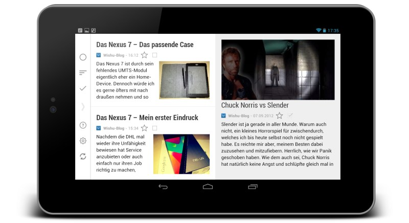 Android app feed Google News nexus nexus 7 rss