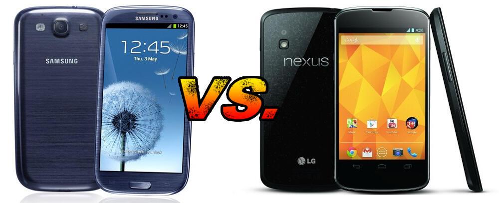 Android galaxy s3 Google LG nexus 4 Samsung vergleich