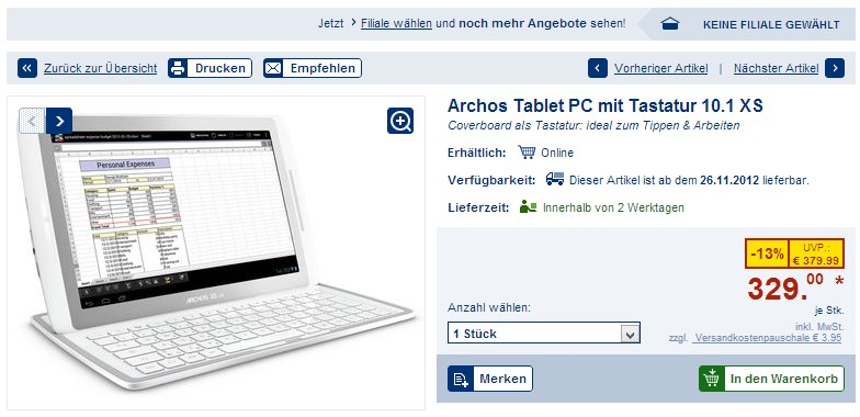 Android Archos lidl shopping tablet xs