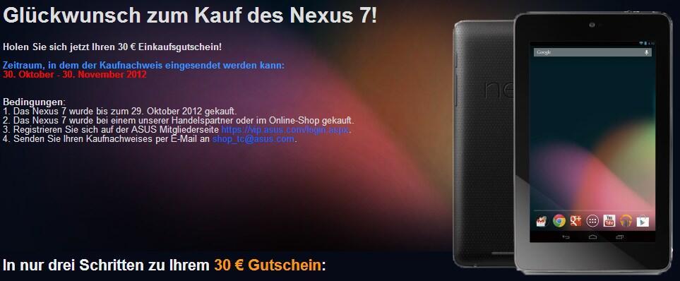 aktiond Android Asus eal Gutschein nexus nexus 7