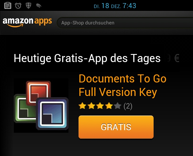 amazon Android deal DocumentsToGo free gratis office