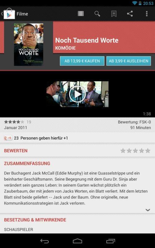 Android filme Google google play Google Play Store Kinofilme