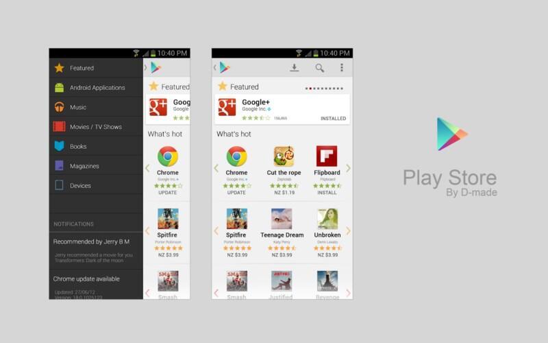 Android design Google Konzept play Store