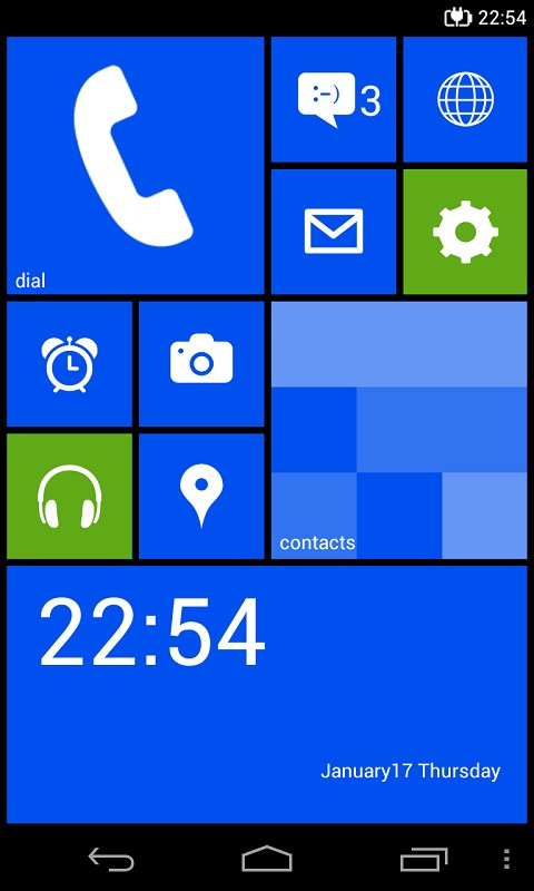 Android app Google homescreen launcher Live Tiles Windows Phone