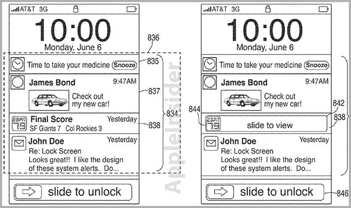 Android Apple bar center iOS iphone notification Patent