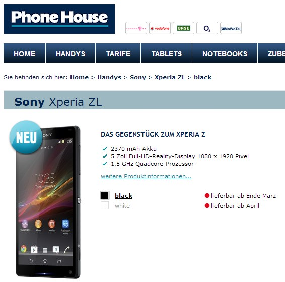 Android Sony Xperia zl