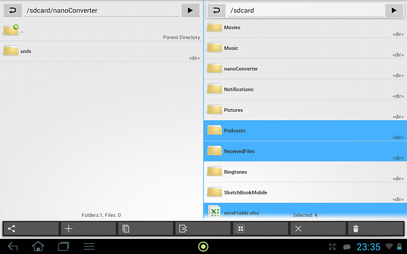 Android app dateimanager Google holo Tablets