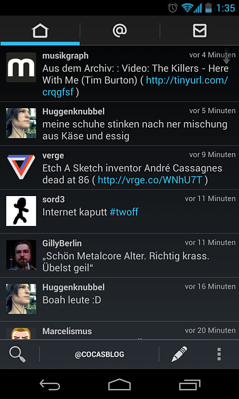 Android app Google holo social twitter