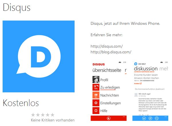 app kommentare Windows Phone