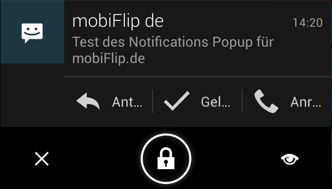 Android notification Popup