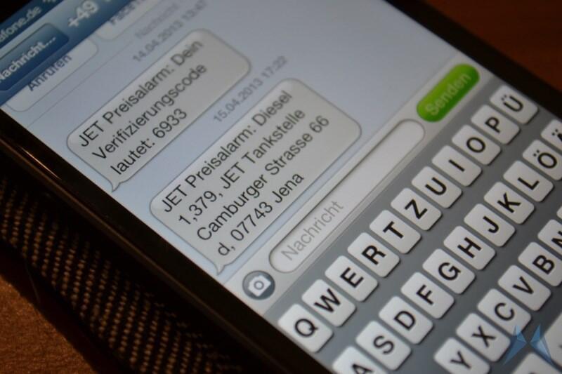 Android Benzin jet preis SMS Tanken