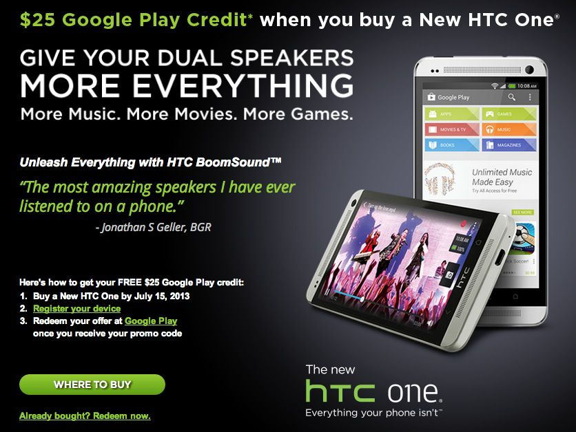 25 $ aktion Android HTC One
